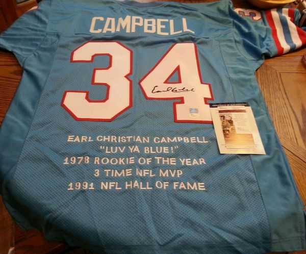 34 EARL CAMPBELL Houston Oilers NFL RB Blue Stats Throwback Jersey  AUTOGRAPHED  27444f555