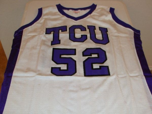 6ee18fc15a4 #52 TCU Horned Frogs NCAA Basketball White Throwback Team Jersey | Lone  Star Throwbacks