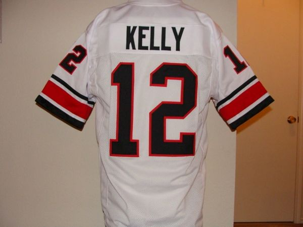 super popular 19e61 69425 #12 JIM KELLY Houston Gamblers USFL QB White Throwback Jersey
