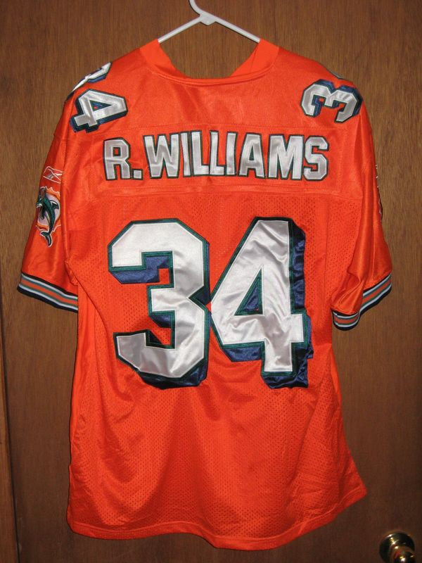34 RICKY WILLIAMS Miami Dolphins NFL RB Orange Throwback Jersey  free shipping