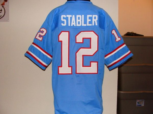6b571dbf253 #12 KEN STABLER Houston OIlers NFL QB Blue Throwback Jersey | Lone Star  Throwbacks