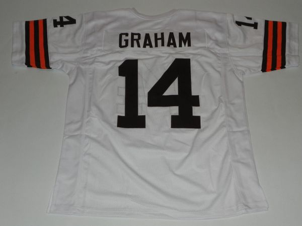 14 OTTO GRAHAM Cleveland Browns NFL QB White Throwback Jersey | Lone