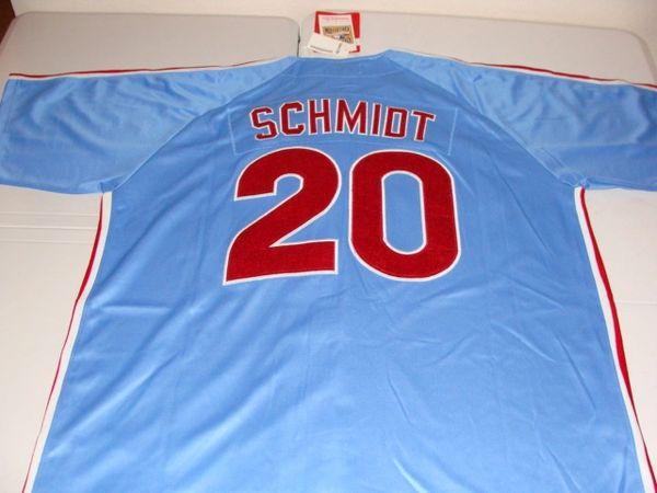 20 MIKE SCHMIDT Philadelphia Phillies MLB 3B Blue Mint Throwback Jersey  16717226cd9