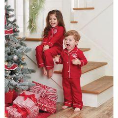 Monogram Christmas Pajama Set by Mud-Pie