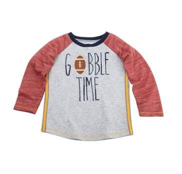 Gobble Time Thanksgiving Football Tee by Mud-Pie