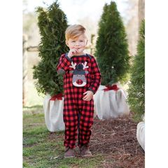 BUFFALO CHECK OPEN-MOUTH REINDEER ONE-PIECE (Mud-Pie)