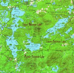 3 Saranac Lakes New York 1955 Topographic Map Shirt