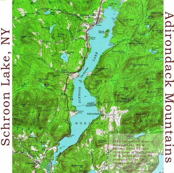 Schroon Lake New York 1954 Warren County Topographic Map Shirt