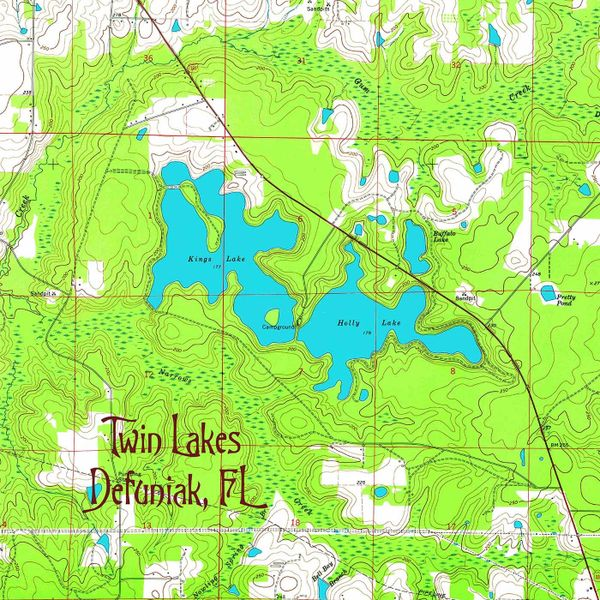 Fl Topographic Map.Twin Lakes Defuniak Fl Topographic Map Shirt Topotees Wear The