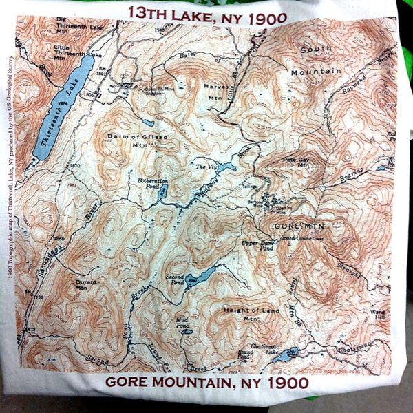 Topographic Map Mountain.Thirteenth Lake Gore Mountain North Creek New York 1900