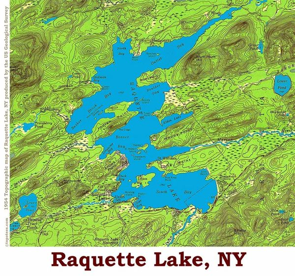 Raquette Lake New York 1954 Topographic Map Shirts Topotees Wear