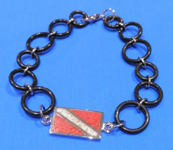 "Sterling Silver 8"" Dive Flag Bracelet with O-Ring Chain"