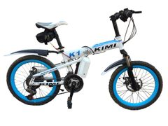 KIMI Mountain Electric Bicycle with Folding High carbon steel frame and 20'' wheels, white&blue