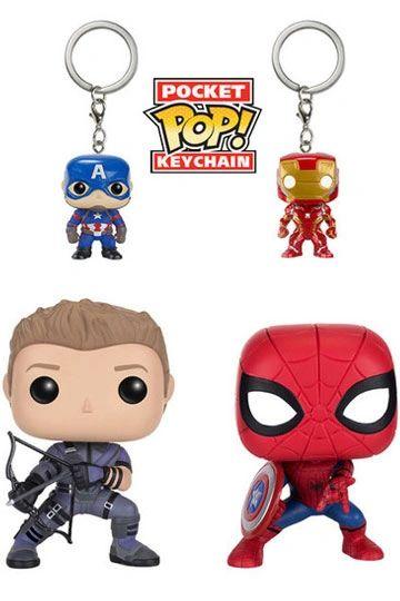 Captain America Civil War POP! Marvel Vinyl Figures & Keychain 4-Pack