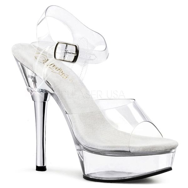 f41d13c83db8 Pleaser Allure 608 Clear Ankle Strap 5 1 2