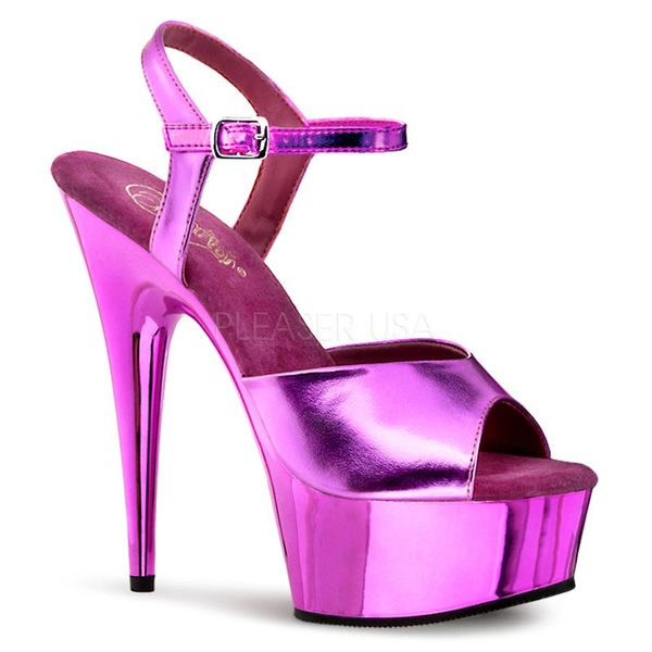 2cdb702549 Pleaser Delight 609 Metallic Fuchsia Ankle Strap 6