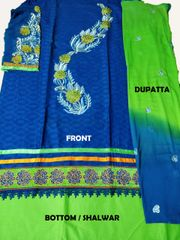 Self Print Cotton with heavy Embroidery & Lace and 2-Color Embroidery Dupatta