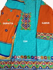 Embroidery on Fornt/Back/Dupatta with four corner laced dupatta