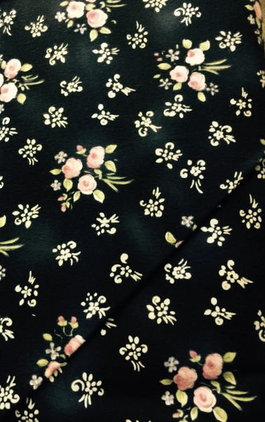Black FLANNEL Fabric with white floral design and pink roses with green stems