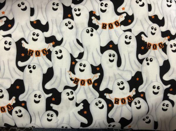 Halloween White ghost - BOO - black orange white fabric
