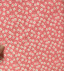 30's Reproduction Fabric - pink with dark pink flowers and off white flowers with green centers