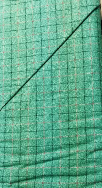 Green FLANNEL Fabric with red stripes and dark striped plaid