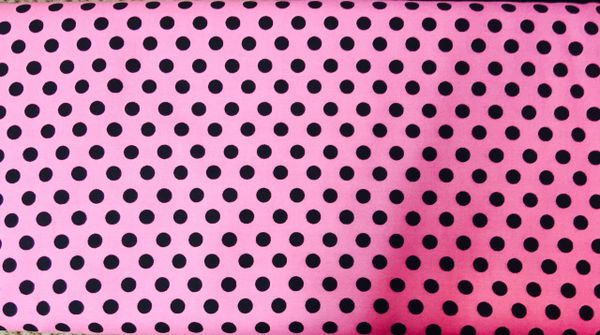Pink Fabric with Black Polka Dots RJR Crazy for Dots and Stripes
