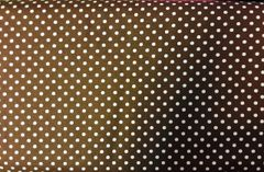 Brown Fabric with White polka dots - dotted fabric