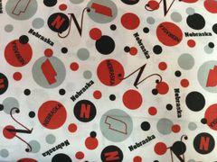 White Nebraska Dots. Dot. Fabric
