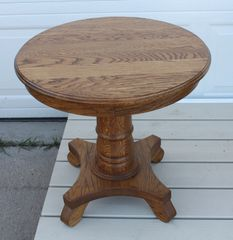 Pair Of Solid Oak Round End Tables