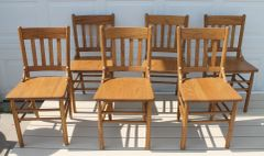 Antique Oak Chairs x 6