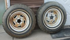 2-Interurban 5 Hole Trailer Steel Wheels w/ Studded Radial Snow Tires-P225/75R15