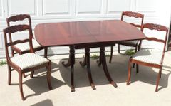 Vintage Mahogany Tell City Duncan Pfife Drop Leaf Table w/ 4 Chairs