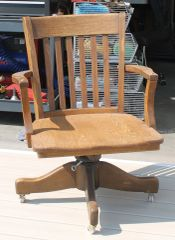 Vintage Solid Wood Banker's Office Chair w/ Arms
