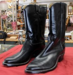 Justin Black Leather Cowboy Boots-size 11B