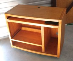 Oak Computer Desk on Wheels