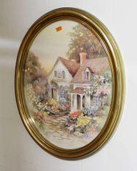 Gold Oval Framed Cottage Print