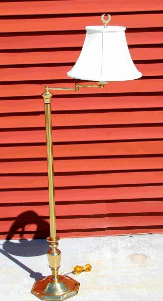 Polished Brass Floor Lamp w/ Shade