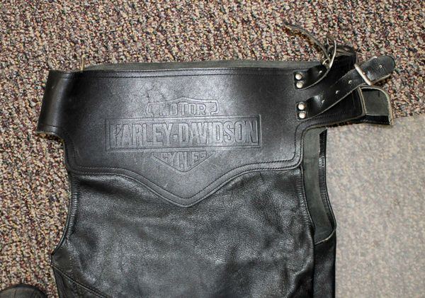 Harley Davidson Black Leather Biker Chaps