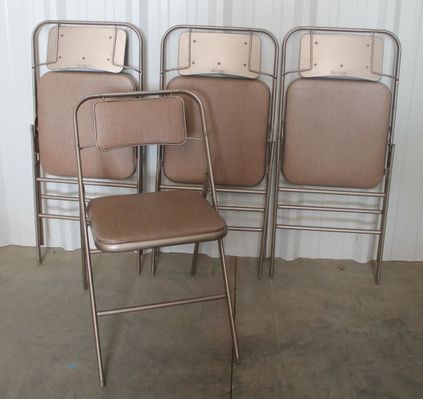 Vintage Set of 4 Samsonite Folding Chairs with Pads