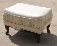 White Leather Footstool-missing one leg