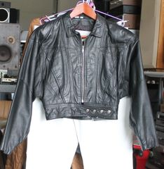 Yucatan Bay Black Leather Ladies Crop Jacket