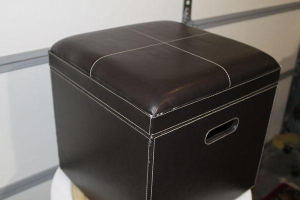 Leather Storage Ottoman 16 x 16 (S1)