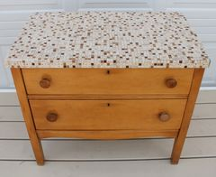 Two Drawer Tile Top Oak Chest Of Drawers / Dresser