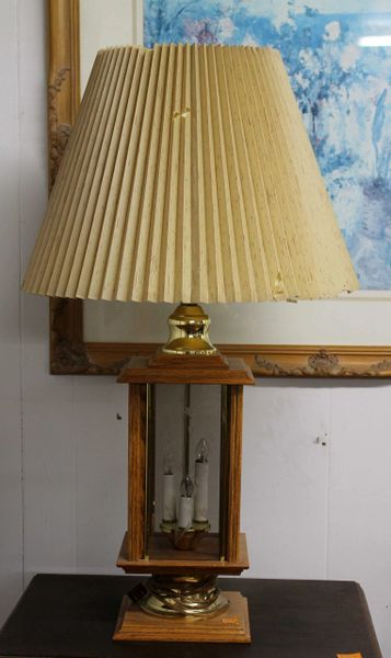 Oak & Brass Table Lamp