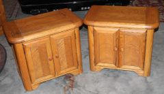 Heavy Built Golden Oak End Tables / Night Stands