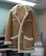 Long Sheepskin Coat w/ Antler Buttons