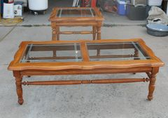 Matching Oak and Etched Glass Coffee / End Table Set
