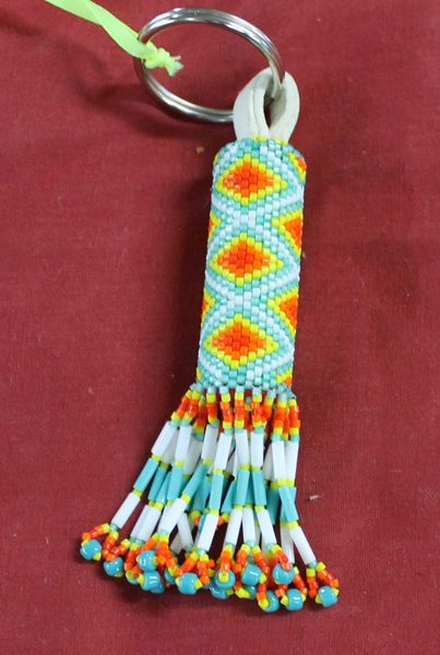 Beaded Key Fob-White, Blue-green, Orange