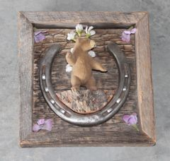 Handmade Bear and Horseshoe Wall Art